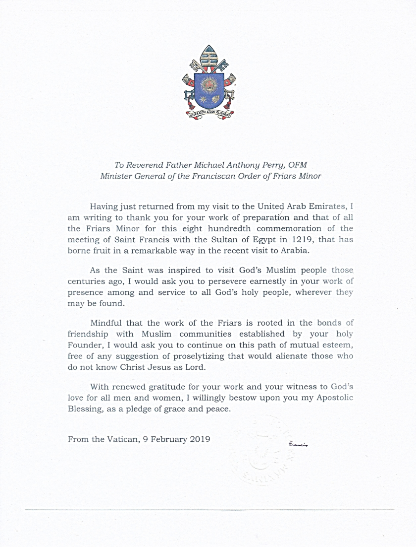 Letter from Pope Francis to OFM Minister General 2019